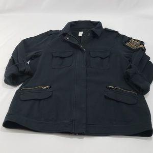 NWT Torrid Blk Cotton Twell Beaded Shirt Jacket